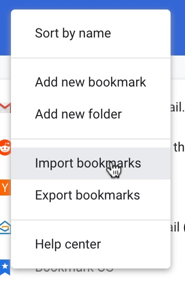 Import Chrome bookmarks