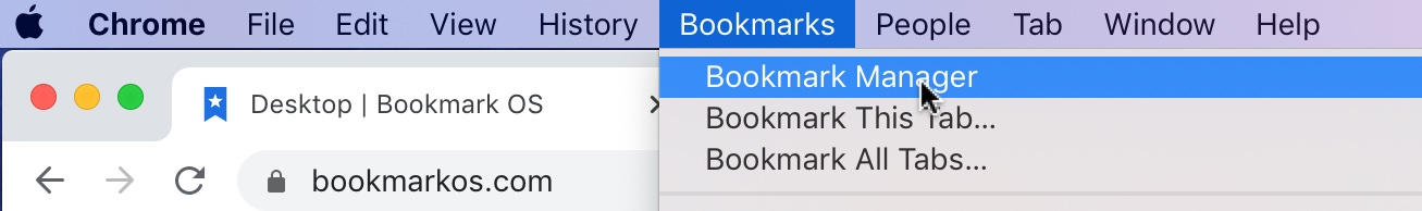 Open Chrome bookmark manager