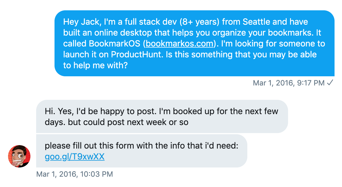 Messaging Jack Smith on Twitter